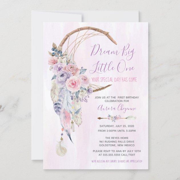 dream big pink purple boho first birthday party invitation zazzle com