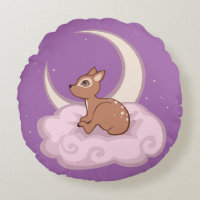 Dreamy Star Spotted Fawn In The Clouds Art Round Pillow