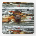 driftwood grey boards Thunder_Cove Square Wall Clock