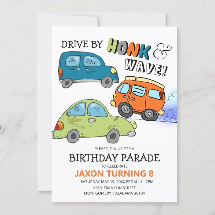 drive by honk wave birthday parade invitation zazzle com