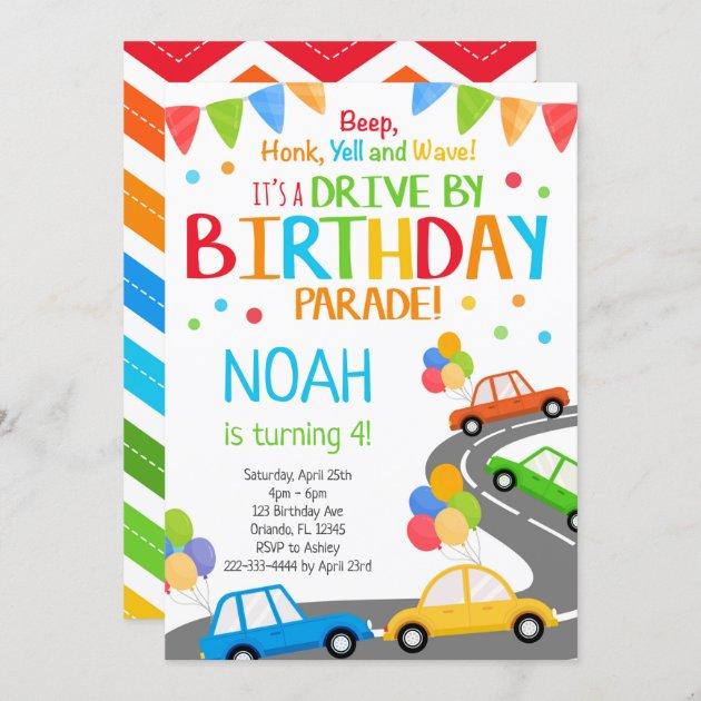 drive by invite boy birthday parade invitation zazzle com