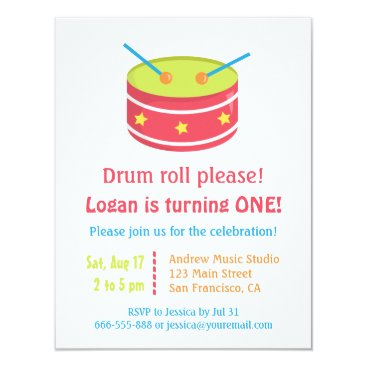Drum Roll Boy First Birthday Party Invitations