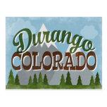 Durango Colorado Fun Retro Snowy Mountains Postcard