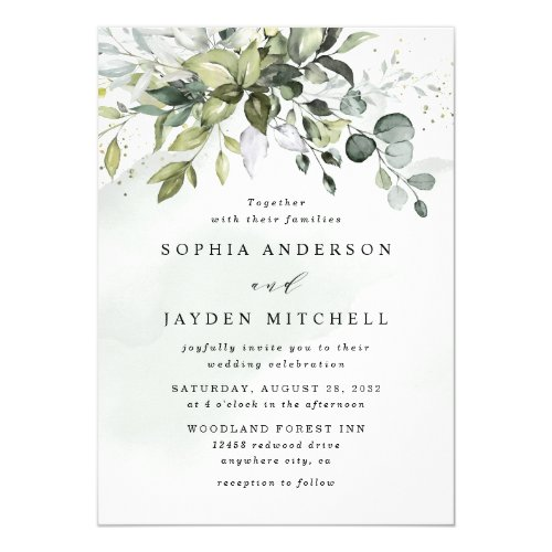 Dusty Blue Eucalyptus Greenery Succulent Wedding Invitation