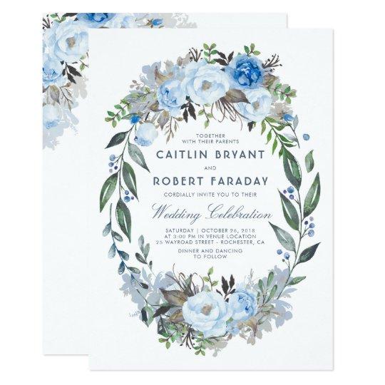 Watercolor Border Dusty Blue Flowers