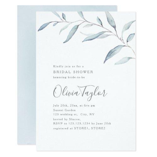 Dusty blue greenery calligraphy bridal shower invitation