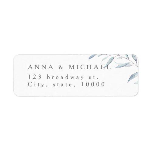 Dusty blue rustic greenery wedding return address label