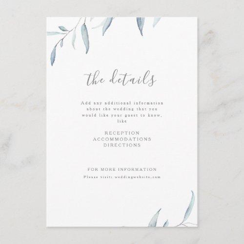 Dusty blue watercolor botanical greenery wedding enclosure card