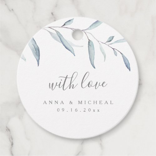 Dusty blue watercolor botanical greenery wedding favor tags