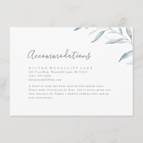 Dusty blue watercolor greenery accommodation enclosure card