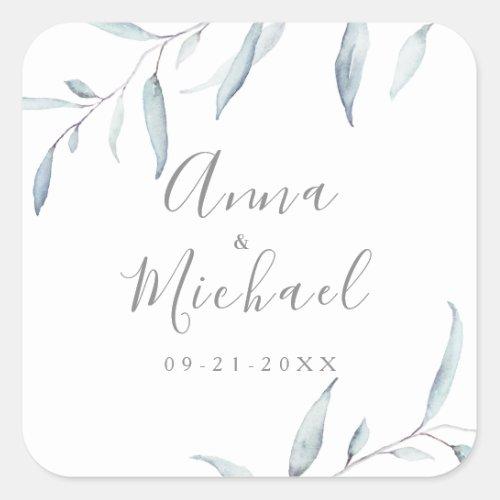 Dusty blue watercolor greenery wedding favor square sticker