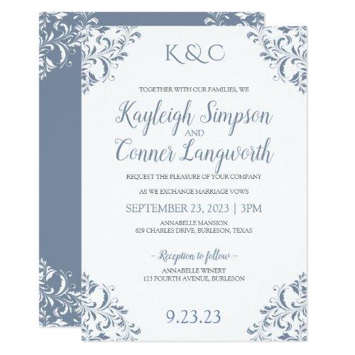 Dusty Blue Wedding Invitations   Elegant & Vintage