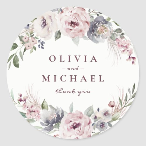Dusty pink watercolor floral rustic boho wedding classic round sticker