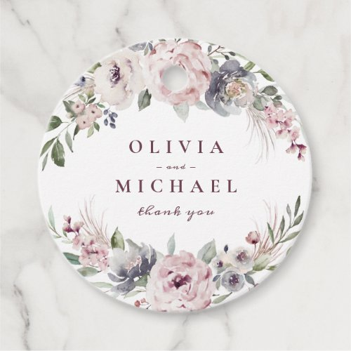 Dusty pink watercolor floral rustic boho wedding favor tags