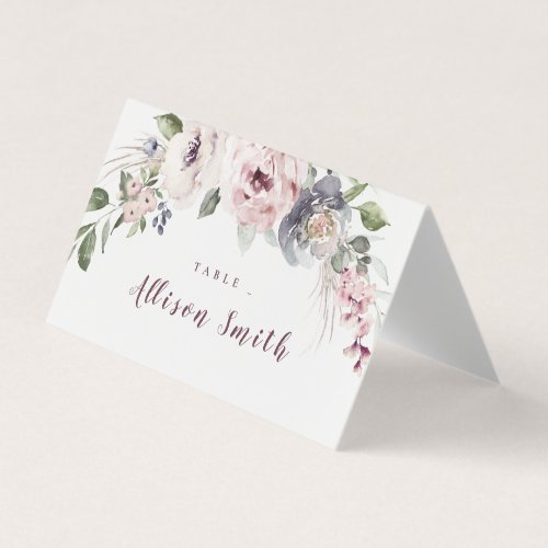 Dusty pink watercolor floral rustic boho wedding place card