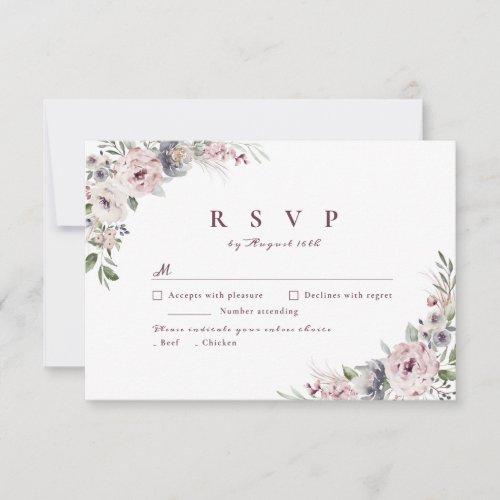 Dusty pink watercolor floral rustic boho wedding RSVP card