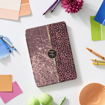 Dusty Rose Glitter and Leopard Skin iPad Pro Cover
