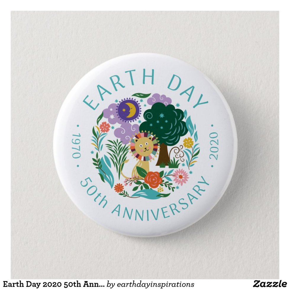 Earth Day 2020 50th Anniversary Cute Lion & Nature Button