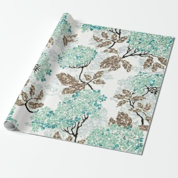 Earthy Aqua Glittery Floral Wrapping Paper