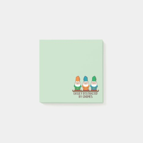 Easily Distracted by Gnomes Cute Post-it Notes