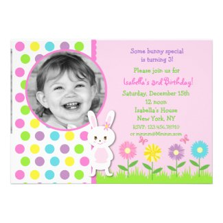 Easter Bunny Photo Birthday Invitations