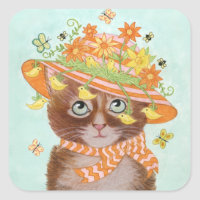 Easter Cat in Easter Bonnet with Butterflies Square Sticker