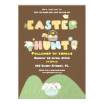 Easter Egg Hunt Spring Typography Brown Invitation