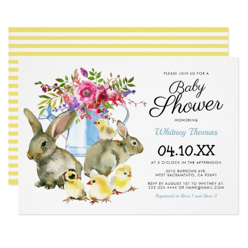 Easter Spring Bunny Floral Baby Shower Invitation