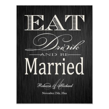Eat Drink and be Married - Metallic Champagne Invitation