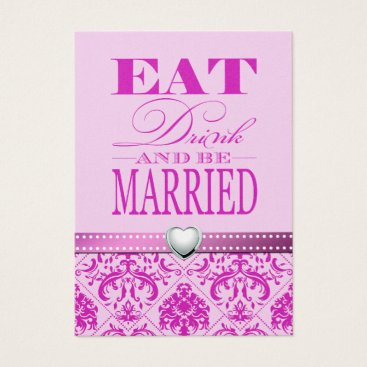 Eat Drink and be Married - Purple / Pink Damask Business Card