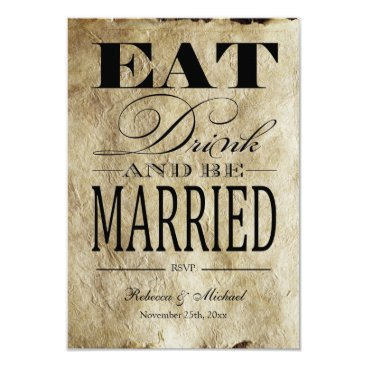 Eat Drink and be Married - Vintage Paper RSVP Card