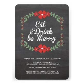Eat, Drink and Be Merry Christmas Party Invitation Template