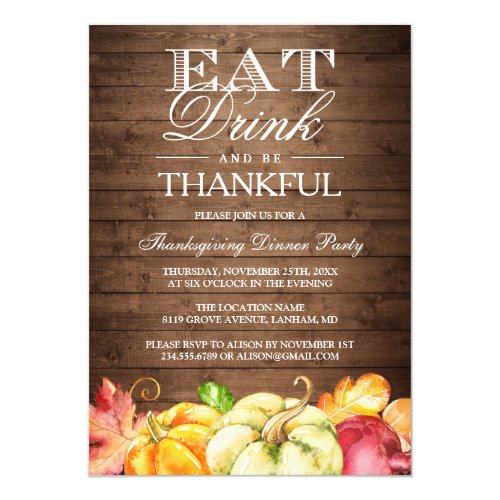 Eat Drink and Be Thankful | Rustic Wood Pumpkins Invitation