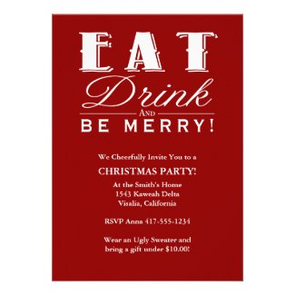 Eat Drink & Be Merry Christmas Party Invitation Template