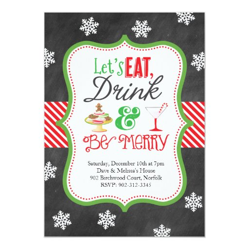 Eat, Drink, Be Merry Christmas Party Invitation