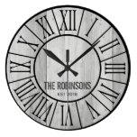 EDITABLE Family Farmhouse Clock - GRAY wood