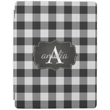 Editable Trendy Black and White Buffalo Plaid Name iPad Smart Cover