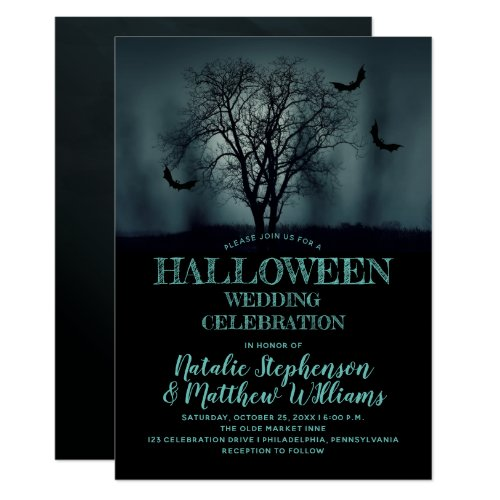 Eerie Tree Bats Halloween Wedding Celebration Invitation