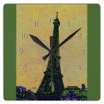 Eiffel Tower Paris France Landmark as Artistic Square Wall Clocks