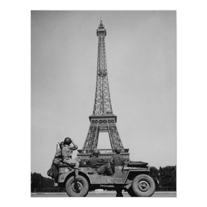 eiffel tower u s soldiers world war two poster zazzle com