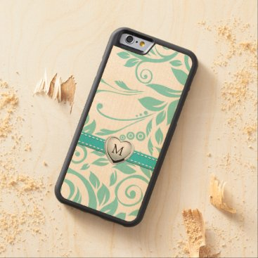 Eleagant floral damask pattern with monogram carved® maple iPhone 6 bumper