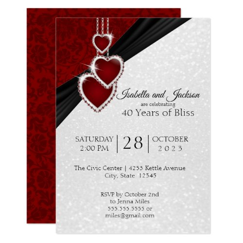 Elegant 40th Ruby Anniversary Design Invitation