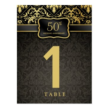 Elegant 50th Anniversary Table Number Card