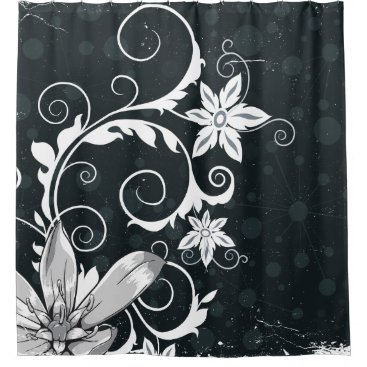 Elegant and Modern Black and White Floral Design Shower Curtain