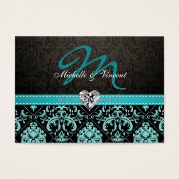 Elegant Aqua Blue and Black Damask Monogram RSVP Business Card