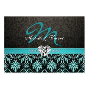Elegant Aqua Blue and Black Damask Monogram RSVP Card