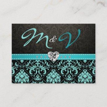 Elegant Aqua Blue and Black Damask RSVP Enclosure Card