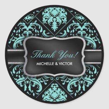 Elegant Aqua Blue and Black Damask Thank You Classic Round Sticker