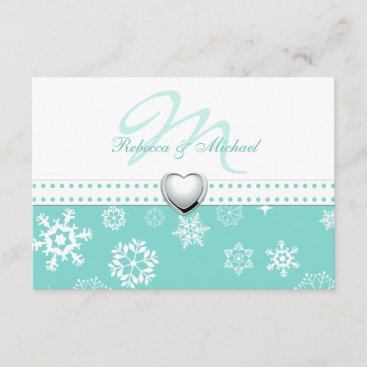 Elegant Aqua Blue and Snowflakes Wedding RSVP