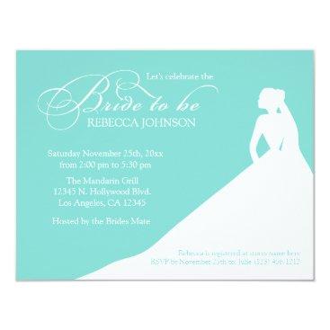 Elegant aqua blue 'Bride to Be' bridal shower Invitation
